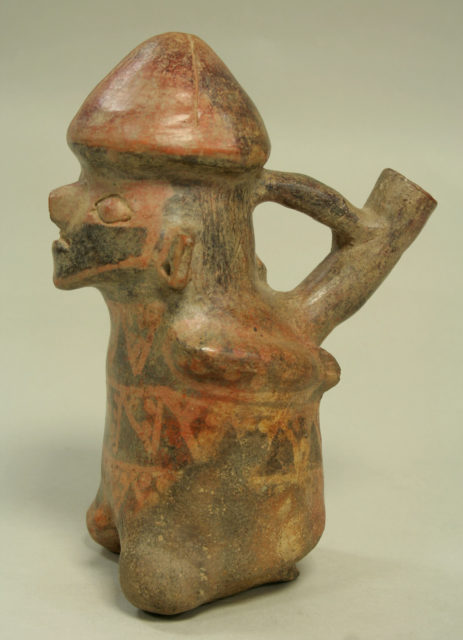 Bridge and Spout Bottle with Seated Prisoner