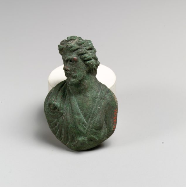 Bronze appliqué in the form of a bust of a barbarian