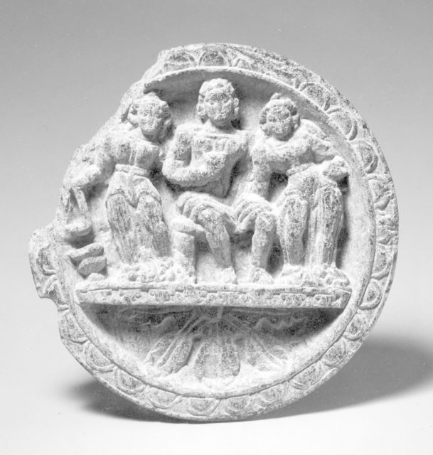 Dish in Two Sections with Three Figures