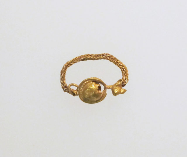 Earring with disc, chain and bird's head