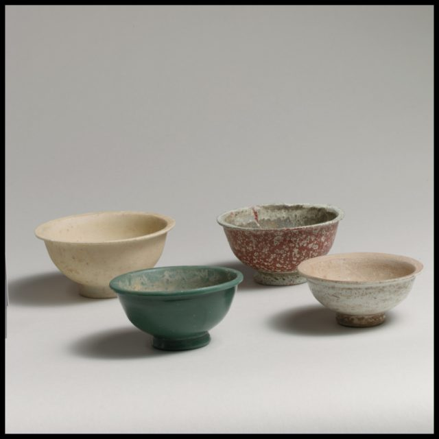 Four monochrome bowls