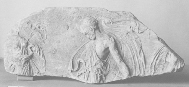 Fragment of a marble relief with dancing maenads