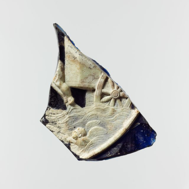 Glass cameo plate fragment