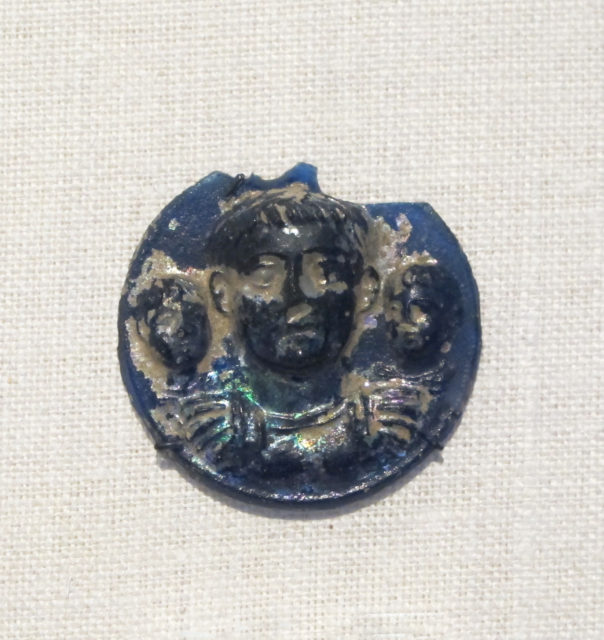 Glass phalera (medallion) with imperial portraits