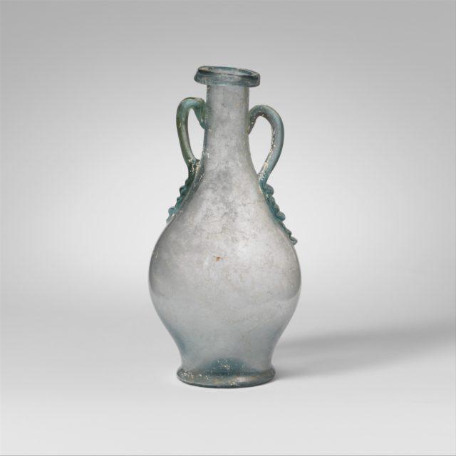 Glass two-handled bottle (amphora)