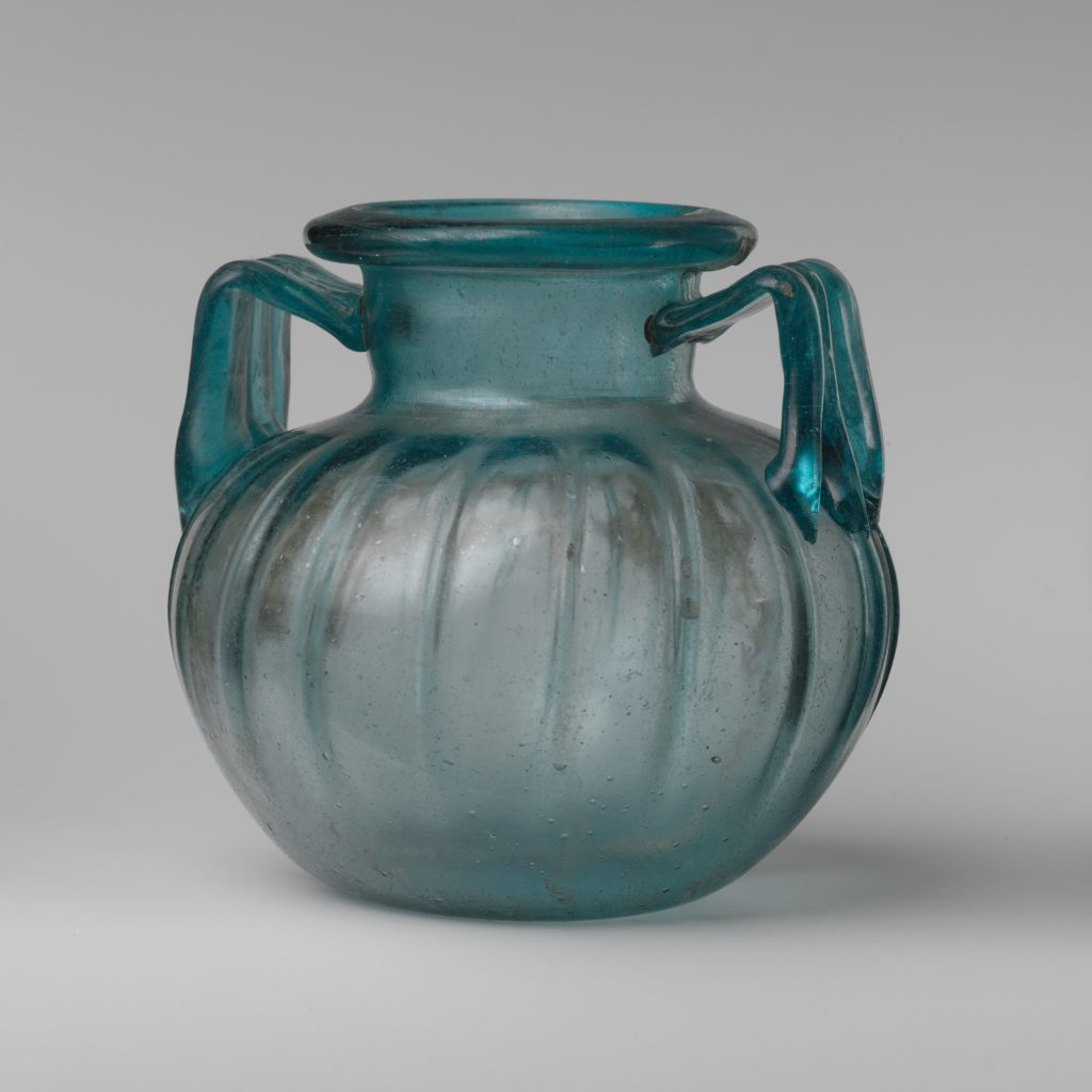 Glass two-handled jar