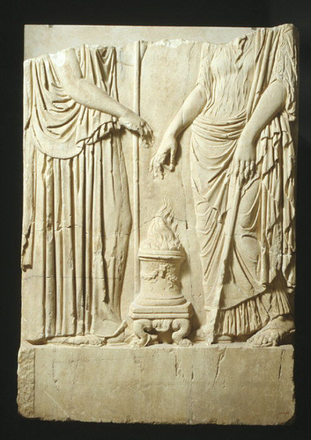 Lower part of a marble relief with two goddesses