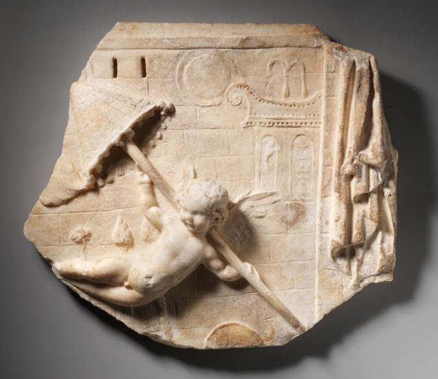 Marble fragment of a relief with a flying Eros