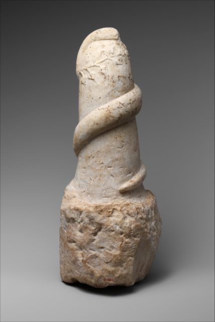 Marble pillar with snake and wreath