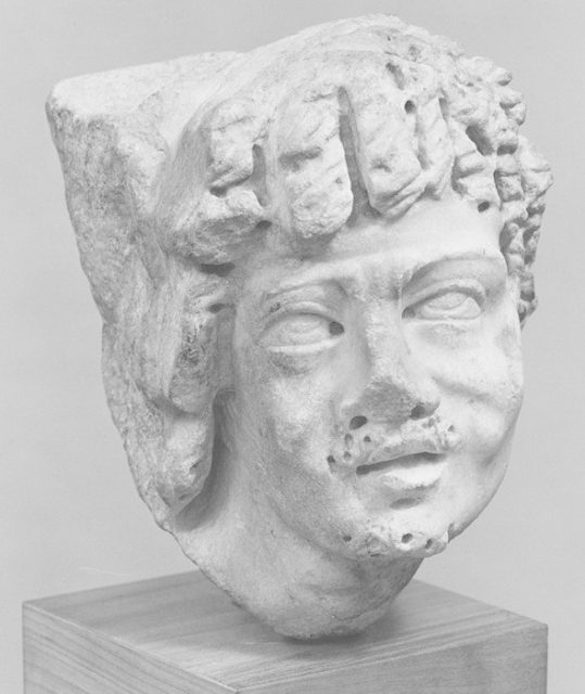 Marble sarcophagus fragment: head of an African (known as an Ethiopian)