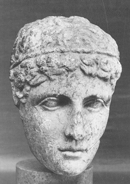 Marble statue head of a youth