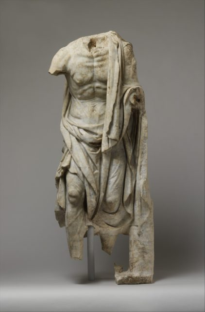 Marble statue of an old fisherman
