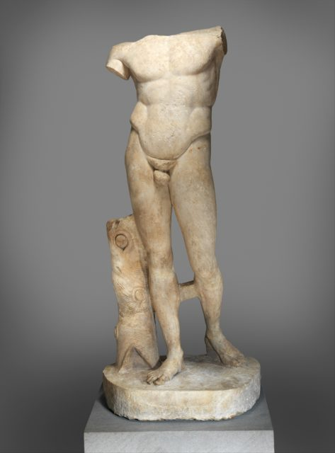 Marble statue of the Diadoumenos (youth tying a fillet around his head)