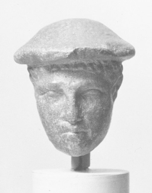 Marble statuette head of a youth