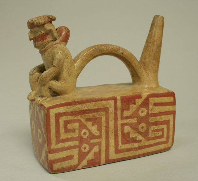 Bridge and Spout Bottle with Figure on Throne