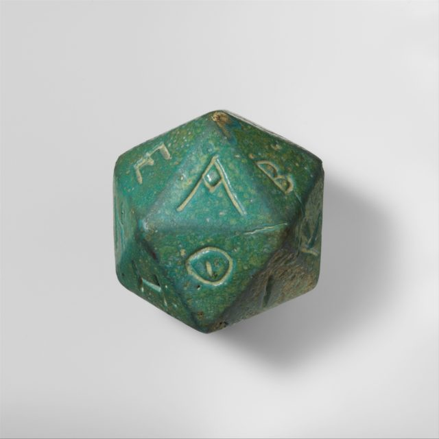 Faience polyhedron inscribed with letters of the Greek alphabet