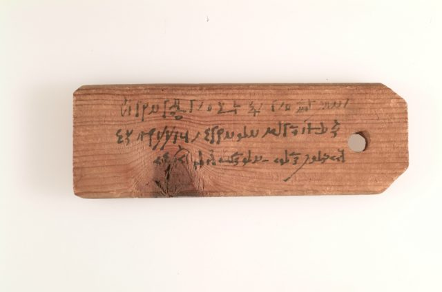 Mummy label of Psenpnouthes, (son of) Kollouthes; his mother Senpsenthmesios