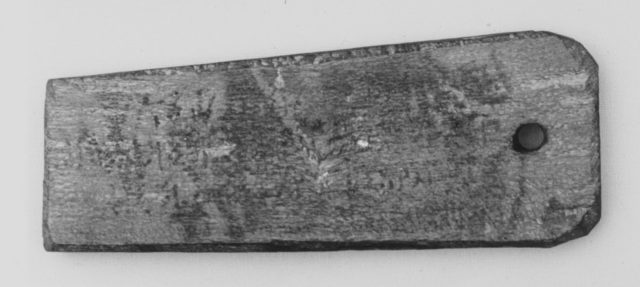 Mummy label of Senpnouthe, daughter of Sulis; her mother Taphiomis