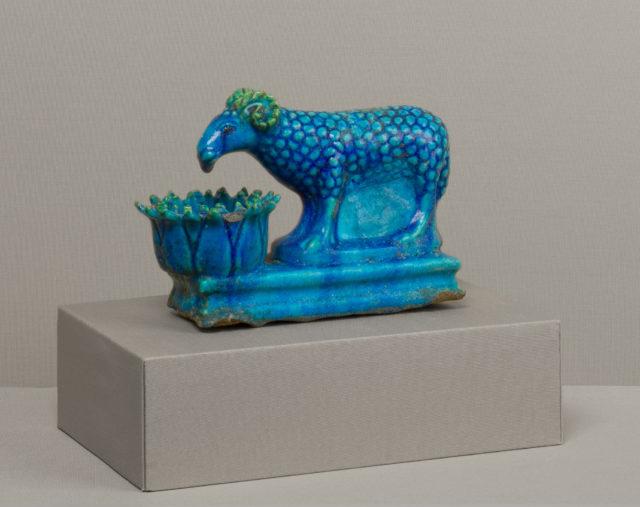 Ram with lotus-shaped manger