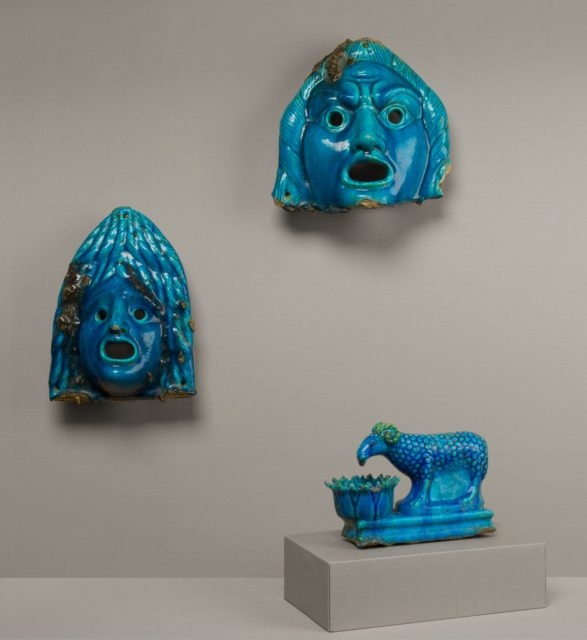 Theatrical Masks and Ram Vessel for Offering