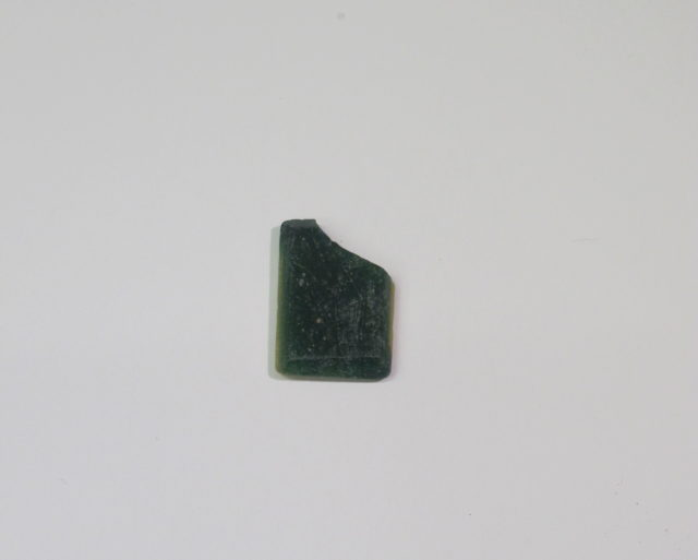 Inlay fragment, green and yellow rectangle with bevelled edge