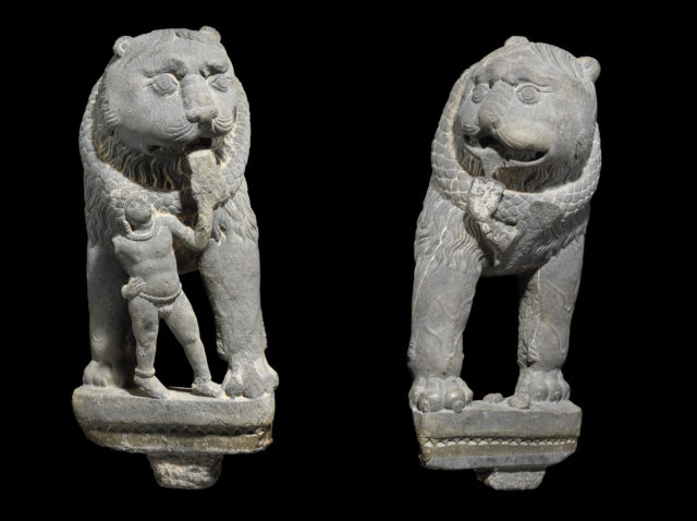 Pair of Lions with Attendant