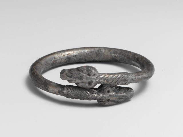 Silver bracelet in the form of a snake
