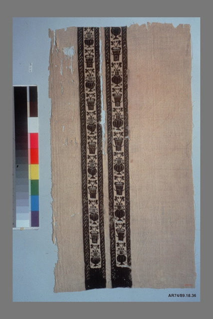 Fragment with Ornamental Bands of Vases with Leaves