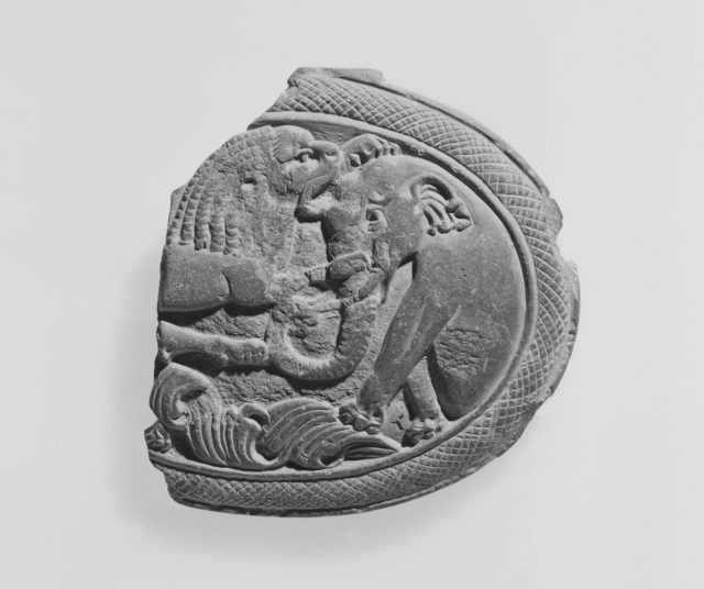 Box Lid with a Lion Attacking an Elephant