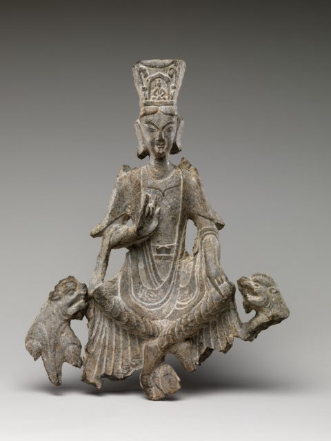 Seated Buddha with Two Lions