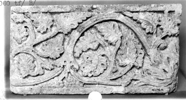 Fragment of a Frieze with Vine Scrolls Bearing Grapes