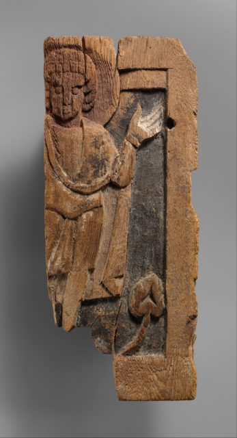 Fragmentary Painted Panel with a Saint