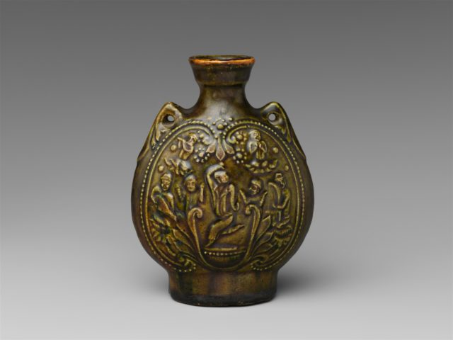Pilgrim's Flask with Central Asian Dancers