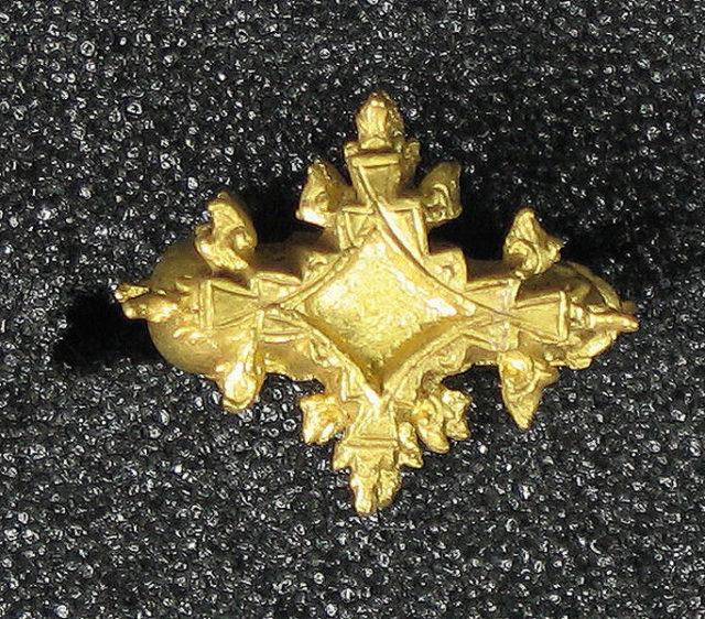 Cast Earring, Foliate Diamond Shape