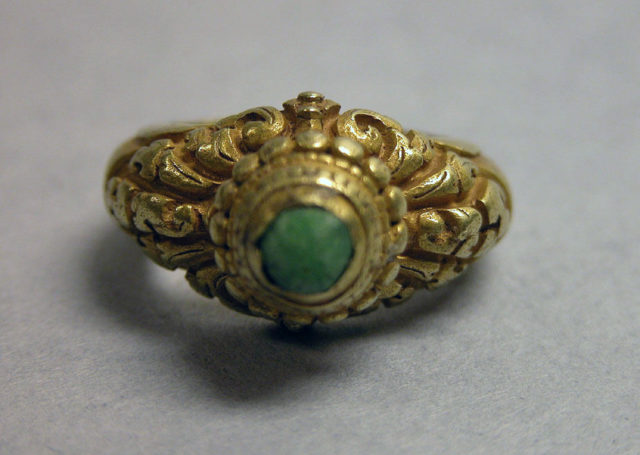Ring with Inset Circular Green Stone