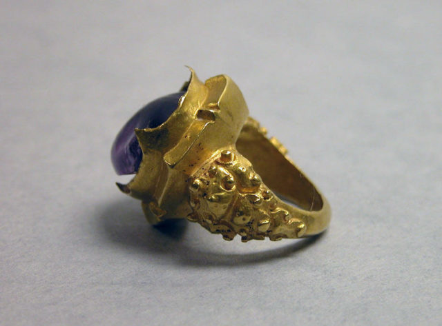 Ring with Purple Circular Stone