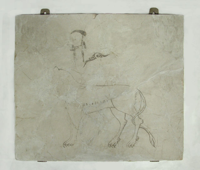 Panel with Sketches of a Man, a Lion and an Arabesque