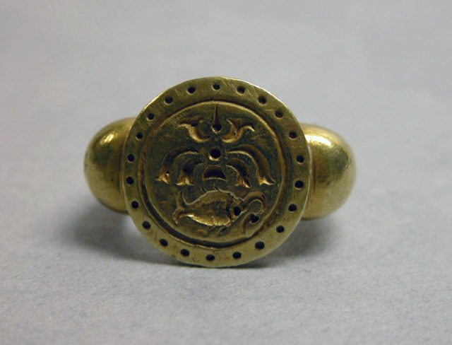 "Ring with Circular Bezel with Inscribed Fish Motif and ""Sri"""