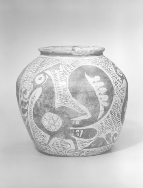 Jar Depicting Three Spirited Peacocks
