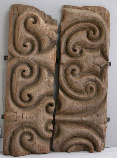 "Panel Carved in the ""Beveled Style"" with Remains of Later Polychromy"
