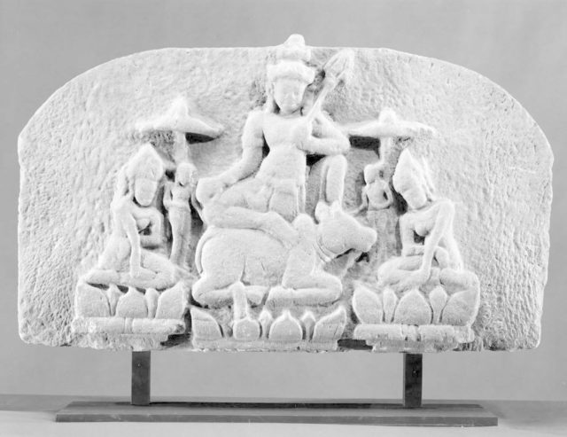 Shiva Seated on Nandi, Flanked by Consorts (Tympanum)