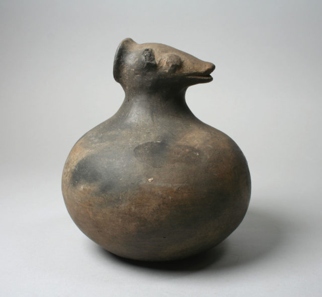 Bottle, Animal Head on Neck
