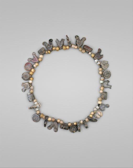 Necklace with Bird, Circle and Cylinder Beads