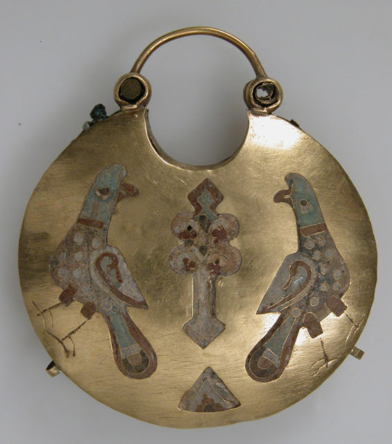 One of a Pair of Temple Pendants, with Two Birds Flanking a Tree of Life (front) and Leaf and Rosette Motifs (back)