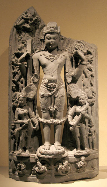 Standing Vishnu with His Consorts, Lakshmi and Sarasvati