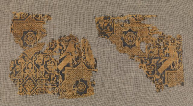 Textile with a Pattern of Stars and Birds, Originally from a Cap