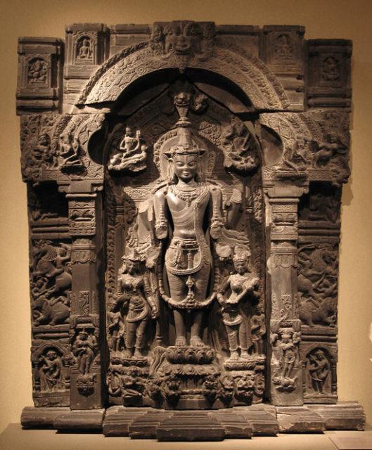 Vishnu with His Consorts, Lakshmi and Sarasvati