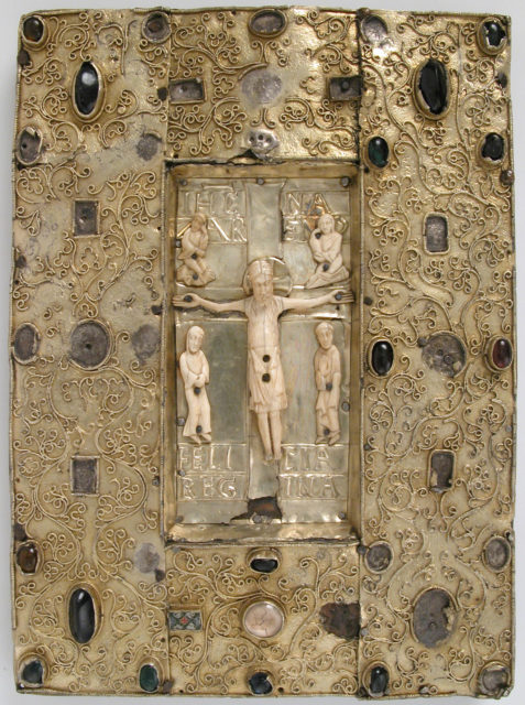 Book Cover (?) with Ivory Figures