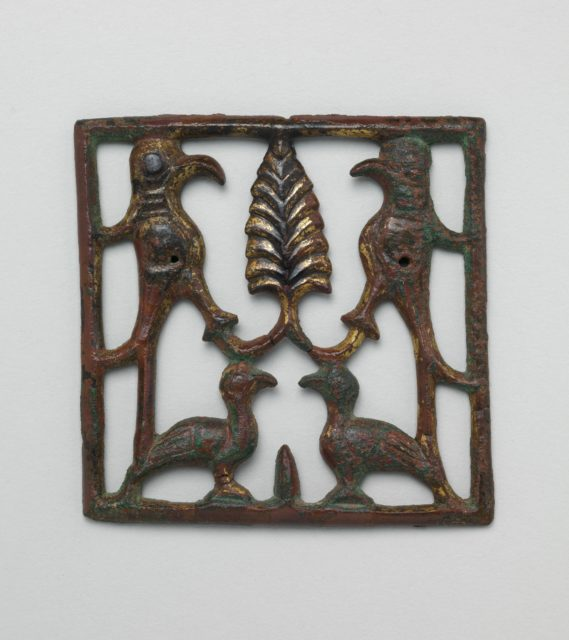 Appliqué Plaque with a Tree and Four Birds
