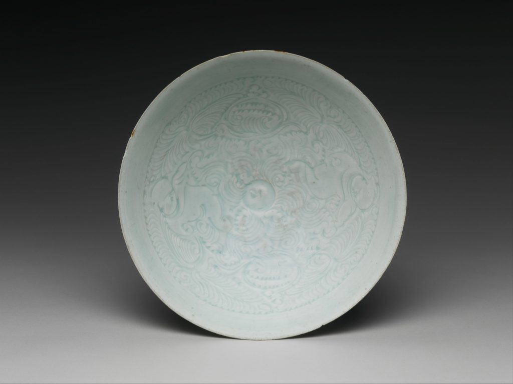 Bowl with Two Boys and Foliage